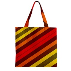 Abstract Bright Stripes Zipper Grocery Tote Bag