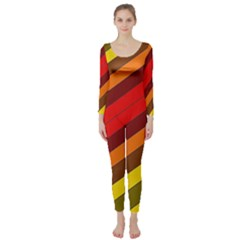 Abstract Bright Stripes Long Sleeve Catsuit