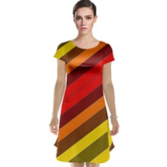 Abstract Bright Stripes Cap Sleeve Nightdress