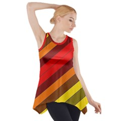 Abstract Bright Stripes Side Drop Tank Tunic