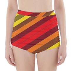 Abstract Bright Stripes High-Waisted Bikini Bottoms
