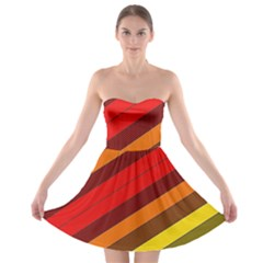 Abstract Bright Stripes Strapless Bra Top Dress