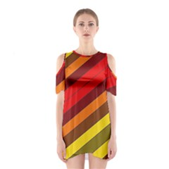 Abstract Bright Stripes Shoulder Cutout One Piece