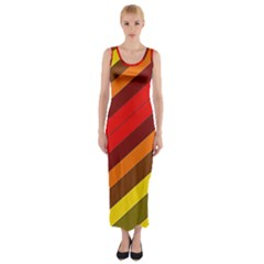 Abstract Bright Stripes Fitted Maxi Dress