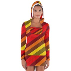 Abstract Bright Stripes Women s Long Sleeve Hooded T-shirt