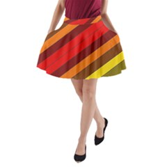 Abstract Bright Stripes A-Line Pocket Skirt