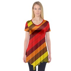 Abstract Bright Stripes Short Sleeve Tunic