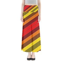 Abstract Bright Stripes Full Length Maxi Skirt