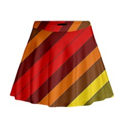 Abstract Bright Stripes Mini Flare Skirt