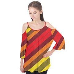 Abstract Bright Stripes Flutter Tees