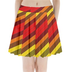 Abstract Bright Stripes Pleated Mini Skirt