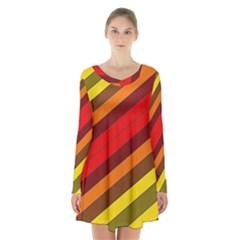 Abstract Bright Stripes Long Sleeve Velvet V Neck Dress