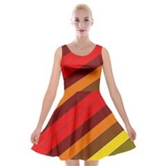 Abstract Bright Stripes Velvet Skater Dress