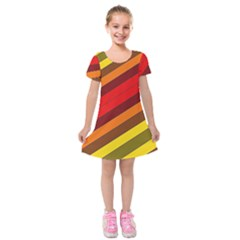 Abstract Bright Stripes Kids  Short Sleeve Velvet Dress