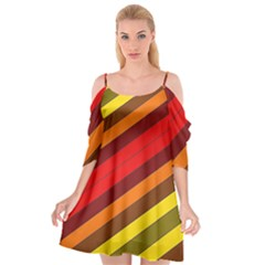 Abstract Bright Stripes Cutout Spaghetti Strap Chiffon Dress