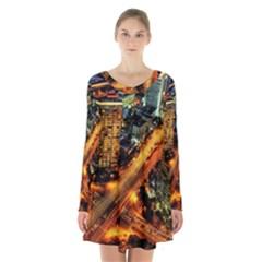 Hdri City Long Sleeve Velvet V Neck Dress