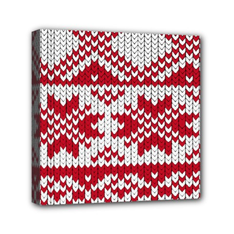 Crimson Knitting Pattern Background Vector Mini Canvas 6  x 6