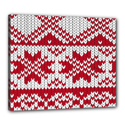 Crimson Knitting Pattern Background Vector Canvas 24  x 20