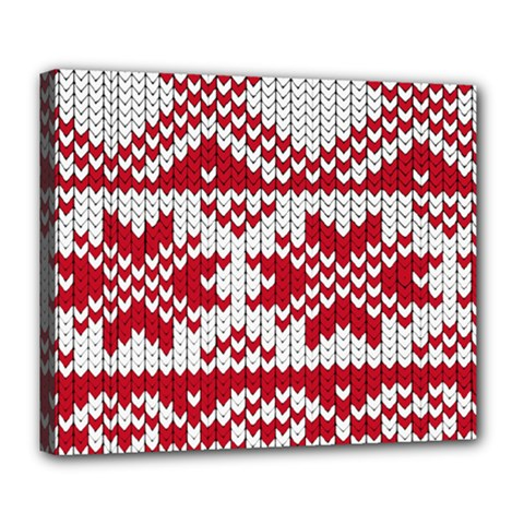 Crimson Knitting Pattern Background Vector Deluxe Canvas 24  X 20