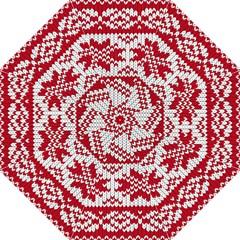 Crimson Knitting Pattern Background Vector Hook Handle Umbrellas (large)