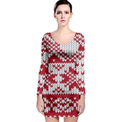 Crimson Knitting Pattern Background Vector Long Sleeve Bodycon Dress