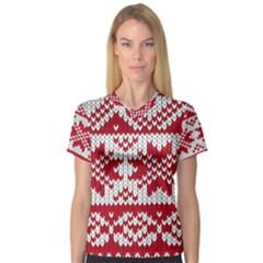 Crimson Knitting Pattern Background Vector Women s V Neck Sport Mesh Tee