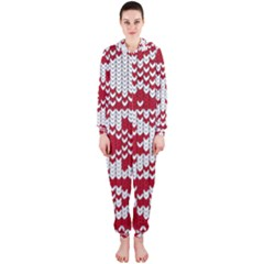 Crimson Knitting Pattern Background Vector Hooded Jumpsuit (ladies)