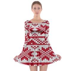 Crimson Knitting Pattern Background Vector Long Sleeve Skater Dress