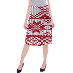 Crimson Knitting Pattern Background Vector Midi Beach Skirt