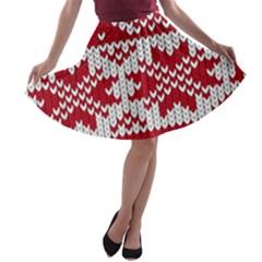 Crimson Knitting Pattern Background Vector A-line Skater Skirt