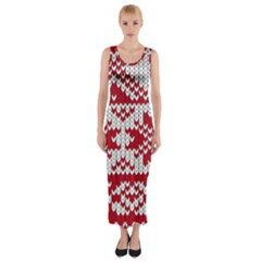 Crimson Knitting Pattern Background Vector Fitted Maxi Dress