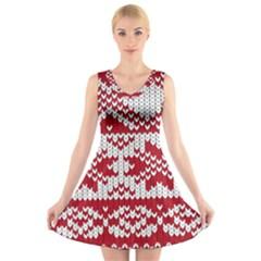 Crimson Knitting Pattern Background Vector V Neck Sleeveless Skater Dress