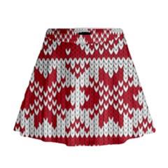 Crimson Knitting Pattern Background Vector Mini Flare Skirt