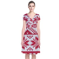 Crimson Knitting Pattern Background Vector Short Sleeve Front Wrap Dress