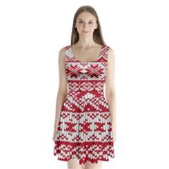Crimson Knitting Pattern Background Vector Split Back Mini Dress