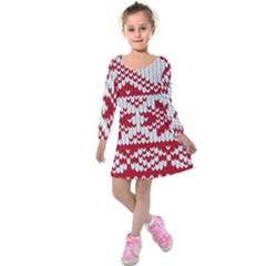 Crimson Knitting Pattern Background Vector Kids  Long Sleeve Velvet Dress