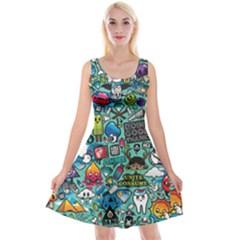 Comics Reversible Velvet Sleeveless Dress