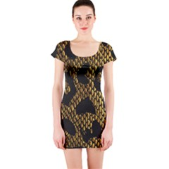 Metallic Snake Skin Pattern Short Sleeve Bodycon Dress