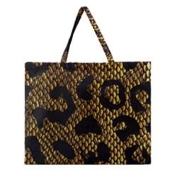 Metallic Snake Skin Pattern Zipper Large Tote Bag