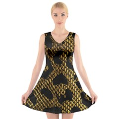 Metallic Snake Skin Pattern V-Neck Sleeveless Skater Dress