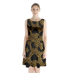 Metallic Snake Skin Pattern Sleeveless Waist Tie Chiffon Dress