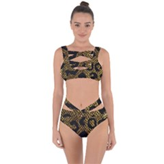 Metallic Snake Skin Pattern Bandaged Up Bikini Set