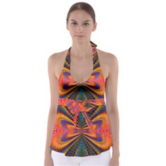 Casanova Abstract Art Colors Cool Druffix Flower Freaky Trippy Babydoll Tankini Top