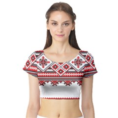 Consecutive Knitting Patterns Vector Short Sleeve Crop Top (tight Fit)