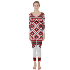 Consecutive Knitting Patterns Vector Long Sleeve Catsuit