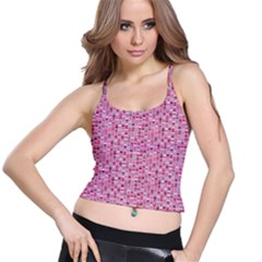 Abstract Pink Squares Spaghetti Strap Bra Top