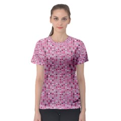 Abstract Pink Squares Women s Sport Mesh Tee