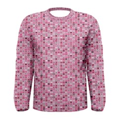 Abstract Pink Squares Men s Long Sleeve Tee