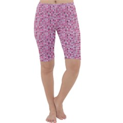 Abstract Pink Squares Cropped Leggings