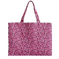 Abstract Pink Squares Zipper Mini Tote Bag